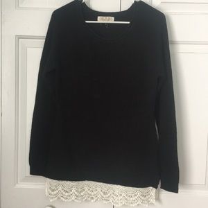 Black tunic sweater with crochet details